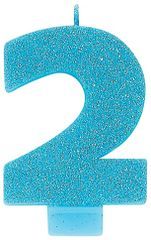 #2 Glitter Caribbean Blue Number 2 Birthday Candle