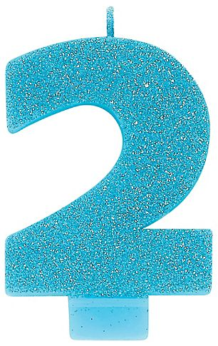 #2 Numeral #2 Glitter Candle - Caribbean Blue