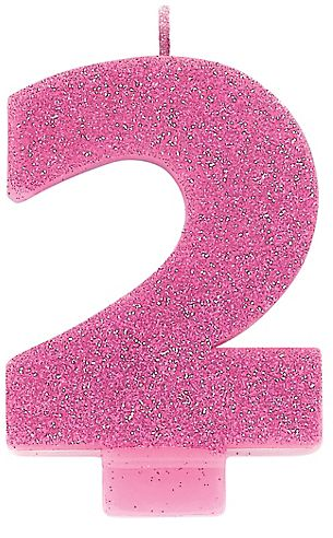 #2 Numeral #2 Glitter Candle - Pink