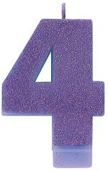 #4 Glitter Purple Number 4 Birthday Candle