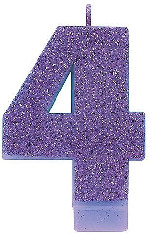 #4 Numeral #4 Glitter Candle - Purple