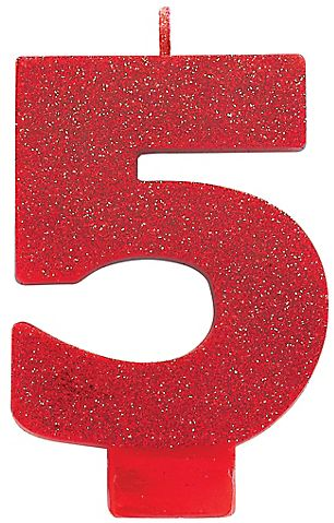 #5 Numeral #5 Glitter Candle - Red