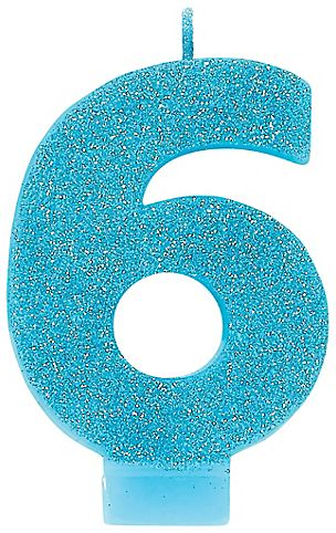 #6 Numeral #6 Glitter Candle - Caribbean Blue