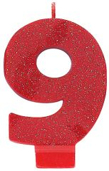 #9 Glitter Red Number 9 Birthday Candle