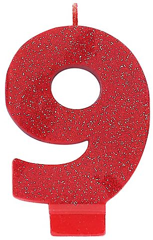 #9 Numeral #9 Glitter Candle - Red