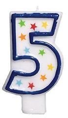 #5 Birthday Star Flat Molded Candle