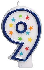#9 Birthday Star Flat Molded Candle