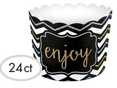 Black, Gold & Silver Chevron Scalloped Bowls, 24ct