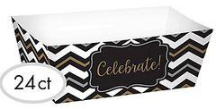 Black, Gold & Silver Chevron Paper Food Trays, 24ct