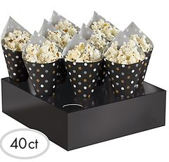 Black, Gold & Silver Polka Dot Snack Cone Kit, 40ct