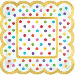 Bright Rainbow Polka Dot Scalloped Appetizer Plates, 36ct