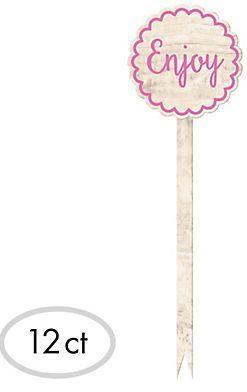 "Tall Pink ""Enjoy"" Wood Party Picks, 12ct"