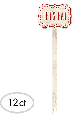 """Tall Red """"Let's Eat"""" Wood Party Picks, 12ct"""