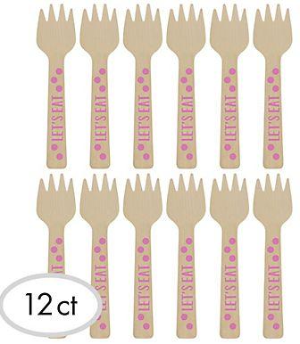 Mini Pink Polka Dot Wood Forks, 12ct