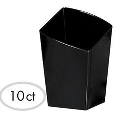 Mini Black Plastic Slanted Tumblers, 10ct