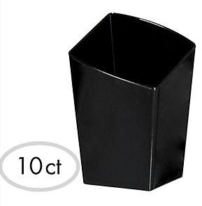 Mini Black Plastic Slanted Tumblers, 10ct
