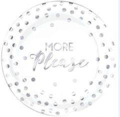 """More Please"" Premium Plastic Dessert Plates, 20ct"