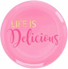 """Life Is Delicious"" Premium Plastic Dessert Plates, 20ct"