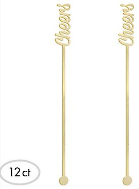 """Cheers"" Drinking Stirrers - Gold, 12ct"
