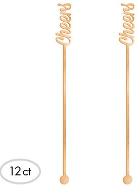 "Rose Gold ""Cheers"" Drink Stirrers, 12ct"