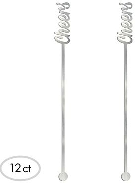 "Silver ""Cheers"" Drink Stirrers, 12ct"