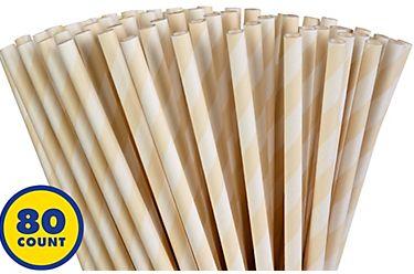 Vanilla Cream Striped Paper Straws, 80ct