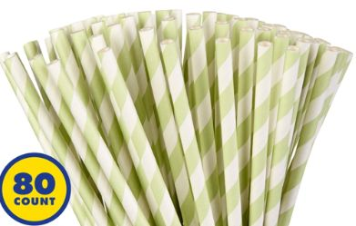 Leaf Green Striped Paper Straws, 80ct