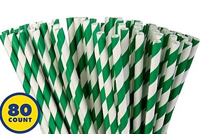 Festive Green Striped Paper Straws, 80ct