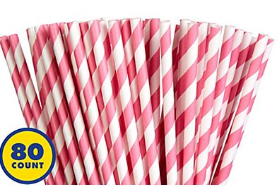 Paper Straws, High Count -Bright Pink, 80ct