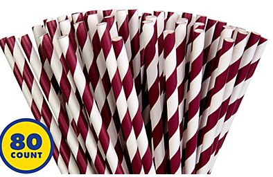 Berry Striped Paper Straws, 80ct