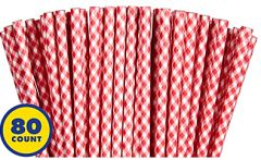 Red Gingham Paper Straws, 80ct