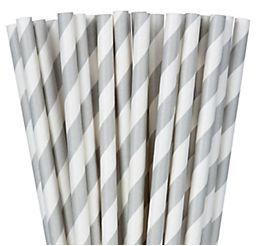Silver Striped Paper Straws, 24ct