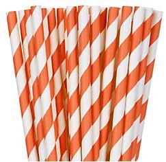 Orange Striped Paper Straws, 24ct