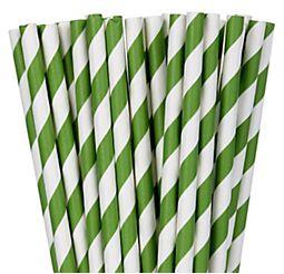 Kiwi Green Striped Paper Straws, 24ct