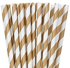 Gold Striped Paper Straws, 24ct