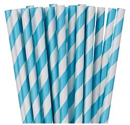 Caribbean Blue Striped Paper Straws, 24ct