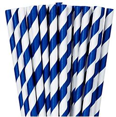 Royal Blue Striped Paper Straws, 24ct