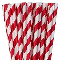 Red Striped Paper Straws, 24ct