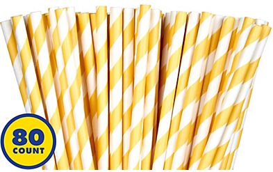 Paper Straws, High Count -Yellow Sunshine, 80ct