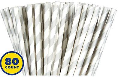 Silver Striped Paper Straws 80ct
