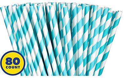 Paper Straws, High Count -Robin's-Egg Blue, 80ct