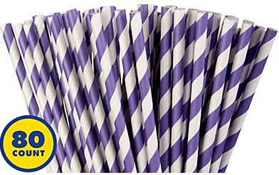 Paper Straws, High Count -New Purple, 80ct