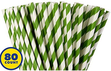 Kiwi Green Striped Paper Straws, 80ct