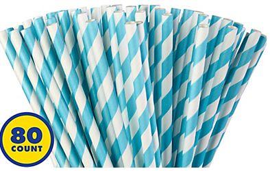 Caribbean Blue Striped Paper Straws, 80ct