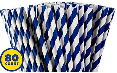 Paper Straws, High Count -Bright Royal Blue, 80ct