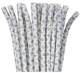 Silver Diamond Flexible Paper Straws, 24ct