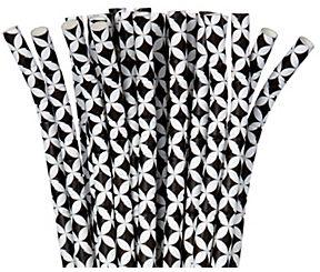 Paper Geo Diamond Straws - Jet Black, 24ct