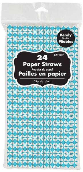 Caribbean Blue Diamond Flexible Paper Straws, 24ct
