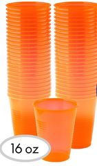 Big Party Pack Black Light Neon Orange Plastic Cups, 50ct