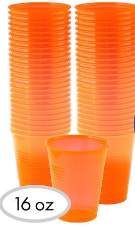 Big Party Pack Black Light Neon Orange Plastic Cups, 50ct